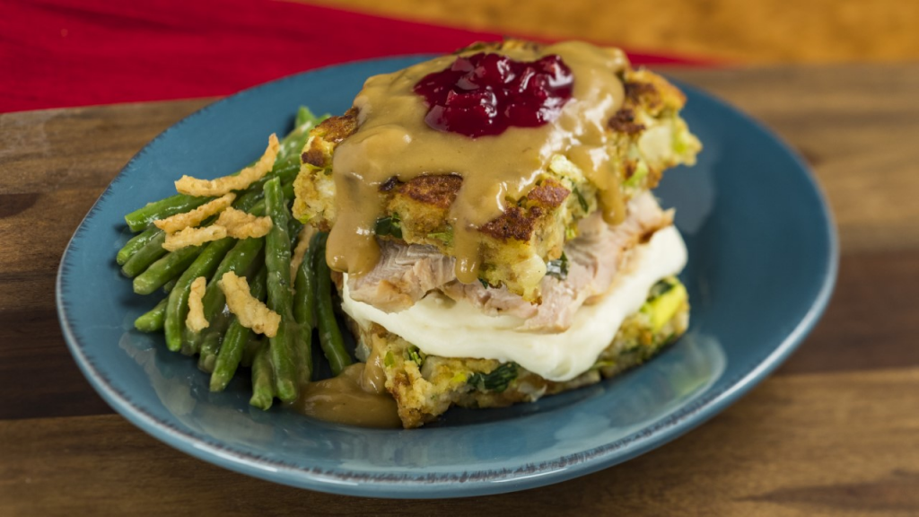 American Holiday Table featuring Slow-roasted Turkey with Stuffing from the EPCOT International Festival of the Holidays